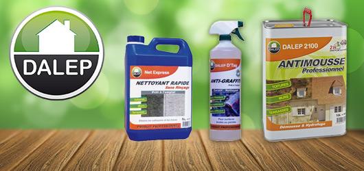 Dalep : Venez découvrir la gamme professionnelle Dalep : antimousse, insecticide, nettoyant, imperméabilisant, tous les produits indispensables aux traitements des bâtiments.